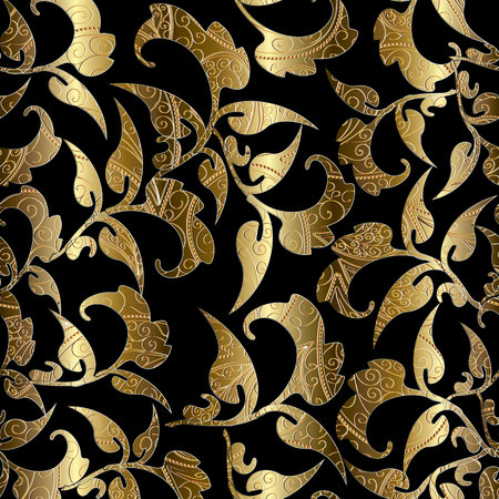 Floral black gold vector seamless pattern. Foliage baroque background.