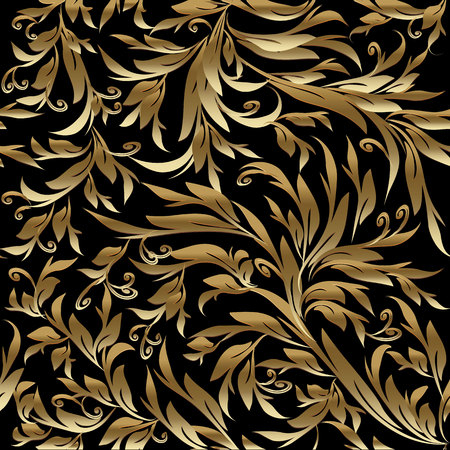 Foliage vintage gold seamless pattern. Vector black leafy background with hand drawn golden leaves, flowers, swirls, intricate beautiful ornaments. Retro rich design for wallpapers, fabric, textile