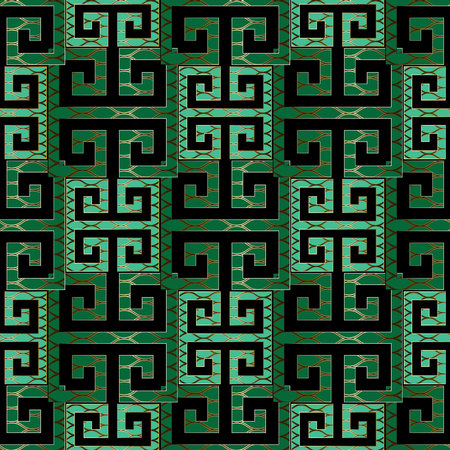 Elegant modern green meander seamless pattern. Vector greek key background. Geometric emerald wallpaper. Abstract design with gold lattice backdrop, shapes, figures. Textured ornate pattern for fabric