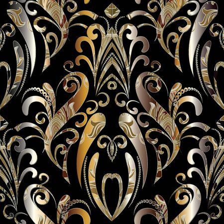 Elegance royal floral seamless pattern. Vector hand drawn black gold damask background. Ornamental paisley flowers, swirls, leaves. Luxury ornate texture. Floral ornaments with dots, curves, lines. 向量圖像