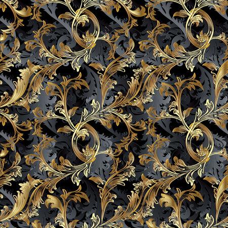Gold 3d Baroque vector seamless pattern. Floral vintage damask background. Golden flowers, scrolls, leaves, antique ornaments in baroque victorian style. Royal ornate wallpaper. Surface luxury texture