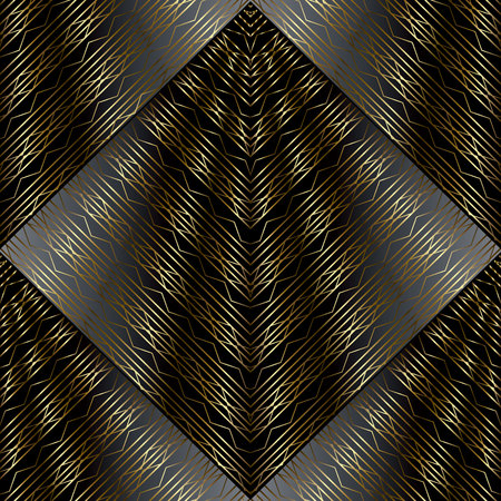 Modern striped lattice 3d seamless pattern. Surface drapery geometric black gold background. Luxury 3d wallpaper. Waves, shapes, zigzag, stripes. Golden line art tracery ornaments. For fabric, prints