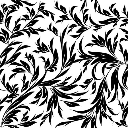 Vintage black white floral vector seamless pattern. Isolated texture. Leafy flourish background. Hand drawn line art tracery leaves, branches, flowers. Luxury design for wallpaper, fabric, prints Ilustração