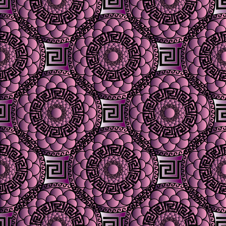 Modern abstract meander seamless pattern. Vector geometric 3d violet background. Abstract shapes, figures, flowers, mandalas, circles, squares, greek key ornaments. Design for wallpapers, fabric. Illustration