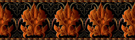 Baroque vector seamless border pattern. Luxury floral background. Damask ornaments with bright orange baroque flowers, scrolls, leaves, swirls, dots. Retro wallpaper. Surface endless texture. 일러스트