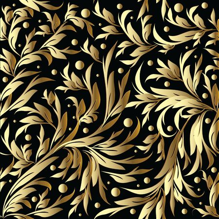 Floral hand drawn gold pattern.