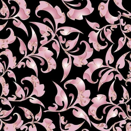 Pink floral pattern.