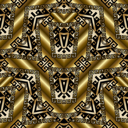 Tribal gold seamless patterns. Vector 3d golden background wallpaper with geometric shapes, meander, Greek key ornaments. surface texture. Design for wallpapers, fabric, textile, prints.