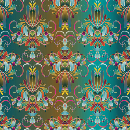 Vintage floral seamless pattern. Blue vector background with hand drawn colorful paisley flowers, swirls, lines, leaves, circles, dots. Damask ethnic ornaments. Design for wallpapers, fabric, prints.