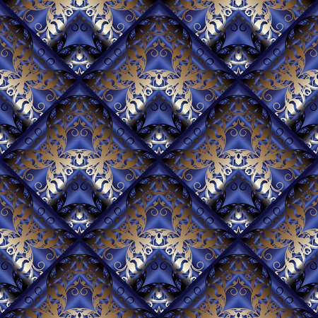 Baroque seamless pattern. Floral vector dark blue 3d background. Vintage wallpaper. Damask gold flowers, scroll leaves, rhombus, swirls and antique baroque ornaments in Victorian style. Luxury design