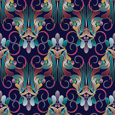 Vintage floral colorful seamless pattern. Dark blue vector background. Hand drawn multi-color flowers, swirls, lines, leaves, curves, dots. Damask ornaments. Luxury design for wallpaper, fabric, print.