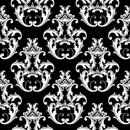 Damask black white seamless pattern. Floral background wallpaper illustration with vintage antique flowers, scroll leaves, baroque ornaments in victorian style. Isolated texture. Design for fabric