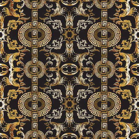 Baroque seamless pattern. Vector damask background. Baroque wallpaper design. Vintage gold silver 3d flowers, scroll leaves, vertical circle meanders and greek key ornaments. Ornate beautiful texture Çizim