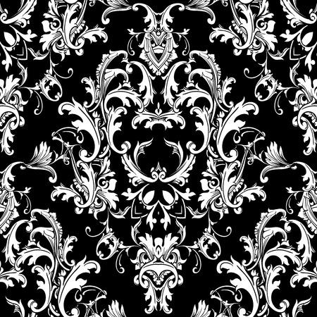 バロックブラックホワイトシームレスパターン。ダマスクの花、スクロールの葉、ビクトリア朝様式のアンティークバロック様式の装飾品と豪華な