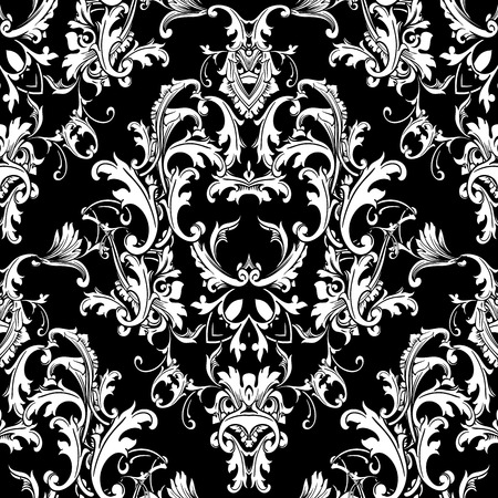 Baroque black white seamless pattern. Luxury floral background wallpaper with damask flowers, scroll leaves,  and antique Baroque ornaments in Victorian style. Elegance design for fabric, prints, wall Фото со стока - 92310007