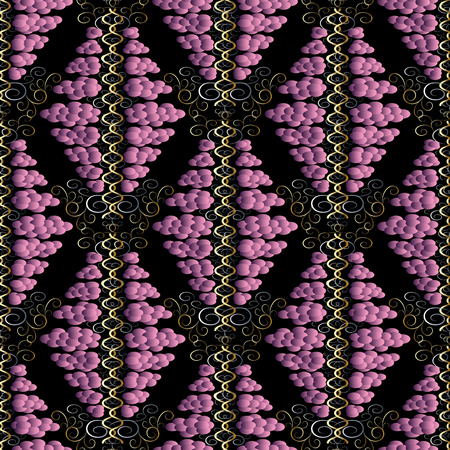 Vintage polka dots seamless pattern. Vector black abstract background. Violet 3d circles, polka dots, swirl lines, abstract flowers and modern surface ornaments. Beautiful fabric, walls texture.