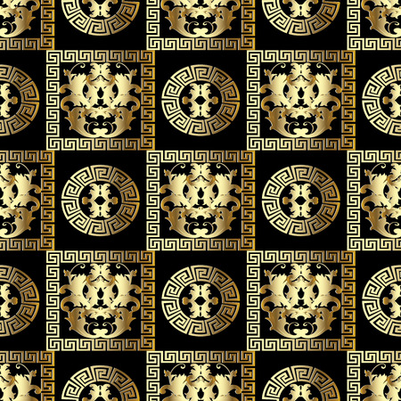 Gold Baroque seamless pattern. Modern floral black background with golden 3d damask flowers, scroll leaves, circles, mandalas, frames, meander, greek key ornament. Luxury design for wallpapers, fabric