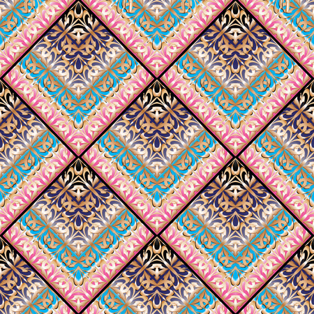 Stylish greek key meanders seamless pattern. Vector geometric background. Ornate wallpapers design. Tracery abstract ornaments. Gold pink 3d ornamental meander frames, shapes, lines, tiled rhombus.