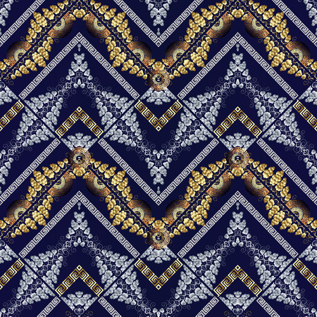 Modern abstract meanders seamless pattern. Dark blue vector  background wallpaper with gold silver 3d polka dots, swirl lines, stripes, zigzag, waves, meander and greek key ornaments. Surface texture.