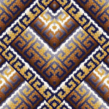 Modern greek key meanders seamless pattern. Vector geometric background. Ornate abstract design. Trendy 3d ornaments. Ornamental meander frames, waves, doodle lines, rhombus. Surface meander pattern