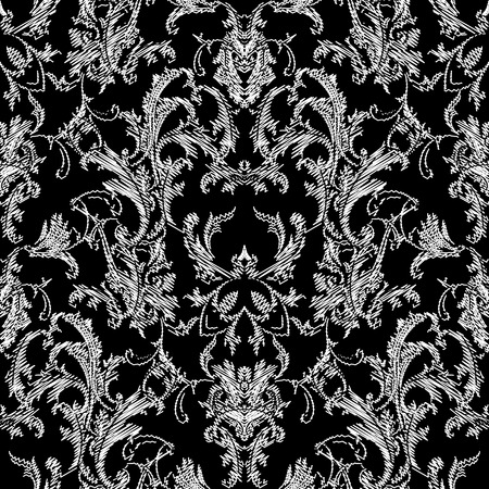 Baroque black white seamless pattern. Luxury floral background wallpaper with damask flowers, scroll leaves,  and antique Baroque ornaments in Victorian style. Elegance design for fabric, prints, wall