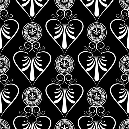 Ancient Greece meander seamless pattern. Vector black floral  background with white hand drawn grecian vintage flowers, swirl lines, abstract love hearts, circle greek key ornaments. Isolated texture. Illustration