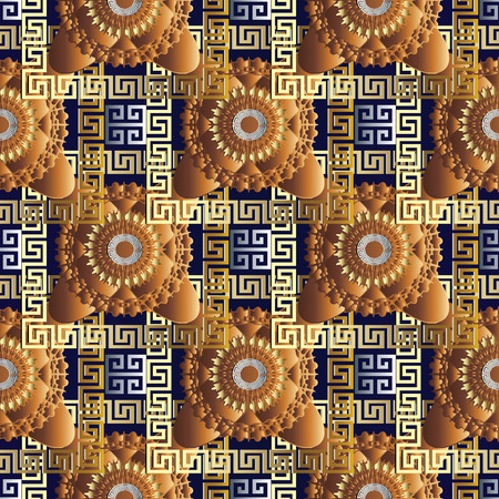 Modern meander greek key seamless pattern. Vector geometric  background. 3d wallpaper with greek key ornaments. Ornamental floral design. Abstract surface texture with circle, frames, squares, shapes Stock Photo
