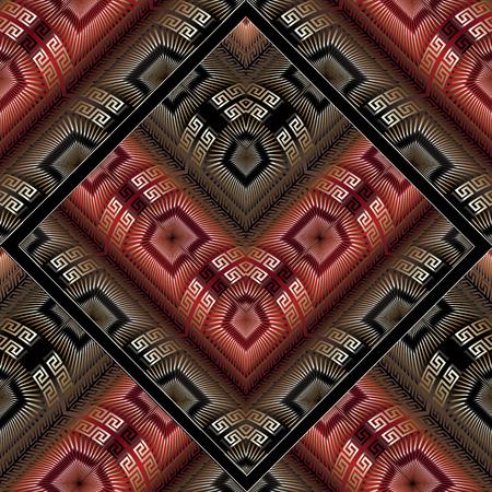 Abstract meander vector seamless pattern. Modern black red gold greek key background. 3d wallpaper. Luxury surface texture. Geometric trendy ornaments, shapes, rhombus, zigzag figures. Ornate design. Standard-Bild