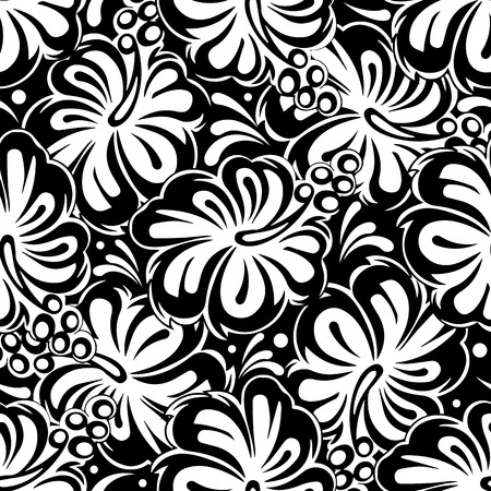 Floral black and white seamless pattern. Vector flowers background. Isolated design.