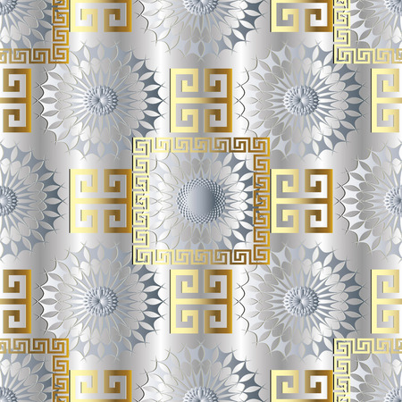 Modern light geometric seamless pattern. Vector  meander background. 3d wallpaper with greek key ornaments. Ornamental floral design. Abstract surface 3d texture with circle, frames, squares, shapes