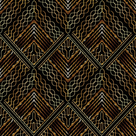 Embroidery vector seamless pattern. Tapestry geometric lace background . Grunge embroidered texture. Hatching gold geometric shapes, figures, rhombus, triangles, wave lines, stripes Stock Photo