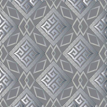 Modern geometric ornamental vector seamless pattern. Light grey abstract geometric background wallpaper with vintage geometrical greek key rhombus, squares, frames, shapes, figures, meander ornaments. Stock Photo