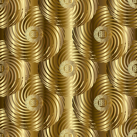 Gold  modern vector meander seamless pattern. Geometric golden background wallpaper with ornamental abstract shapes, figures, radial circles and  greek key ornaments. Ornate surface vintage 3d texture Stock Photo