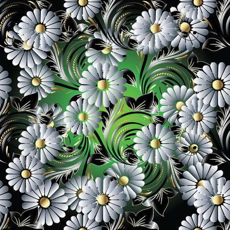 3d chamomile flowers seamless pattern. Floral vector vintage background. Stock Photo
