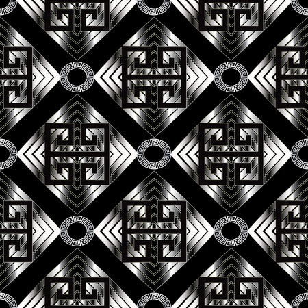 Geometric meander seamless pattern. Black vector geometry abstract background wallpaper with silver geometric shapes, figures, rhombus, squares, circles and Greek key meander modern ornaments. Vectores