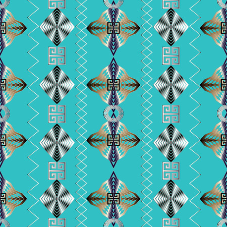 Geometric striped seamless pattern. Blue vector geometry abstract background wallpaper with 3d gold black white vertical zigzag stripes, shapes, figures, rhombus, squares, Greek key meander ornaments.
