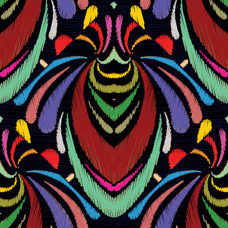 Embroidery abstract hand drawn seamless pattern.