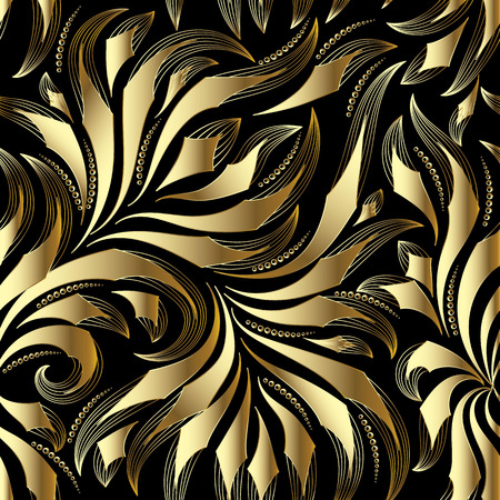 Vintage gold seamless pattern of Vector floral background with doodle striped hand drawn damask flowers.