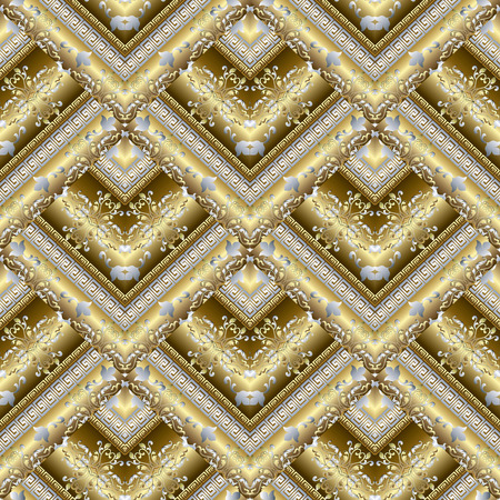 Gold Baroque vector tiled seamless pattern, Meander greek key ornaments, Floral background with damask flowers, leaves, Geometric abstract design, 3d surface texture, Fabric pattern.