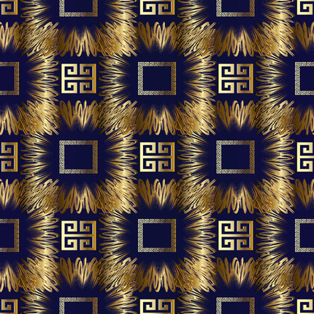 Meander greek key vector 3d seamless pattern. Geometric abstract modern blue  background wallpaper with gold ornate tracery, zigzag, meanders, shapes, frames, squares, lines.  Surface trendy design