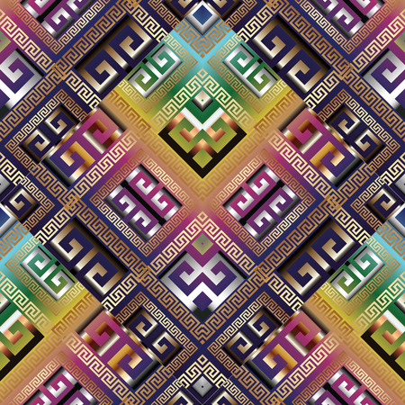 Bright geometric meander greek key vector seamless pattern, Tiled ornaments Abstract background wallpaper.