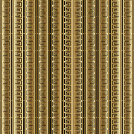 Striped gold 3d meander greek key seamless pattern. Vector golden repeating   abstract background. Modern wallpaper. Ancient vintage ornament with vertical stripes. Surface gold texture. Luxury design