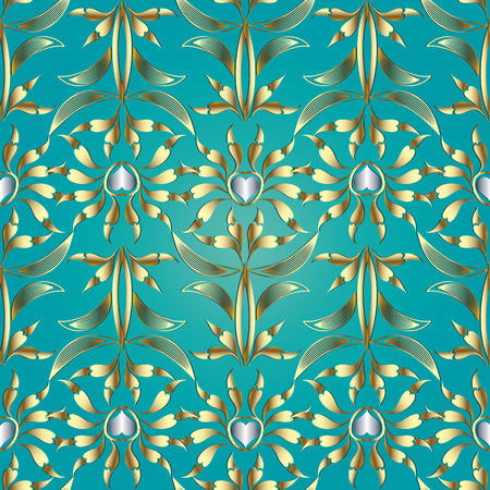 Floral vector seamless pattern. Damask turquoise background with gold silver hand drawn abstract flowers, striped leaves, love hearts, line art tracery ornaments for wallpapers, fabric, print. Illustration