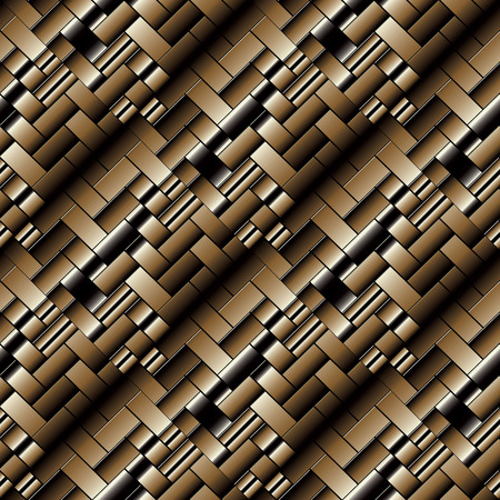 Check geometric seamless pattern. Abstract vector 3d textured background. Striped ornaments with tiled squares and rectangles. Çizim