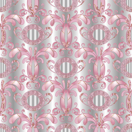 Silver floral seamless pattern. Vector white 3d  background with hand drawn pink  flowers, leaves, circles, meanders,   greek key ornaments. Surface ornate design for fabric, prints, wallpapers Illustration