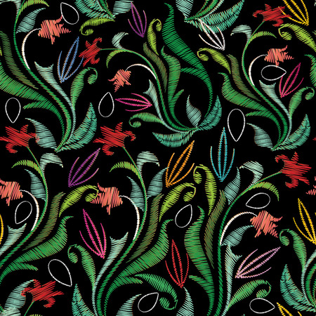 Embroidery colorful floral seamless pattern. Tapestry vector background with vintage grunge embroidered flowers, swirl green leaves, line art tracery ornaments. Luxury design for wallpapers, fabric