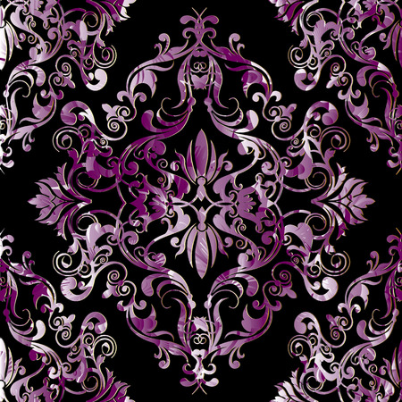 Damask seamless pattern. Black vector floral background with antique textured violet baroque flowers, scroll leaves, patterned ornaments. Floral surface design for wallpapers, fabric, print