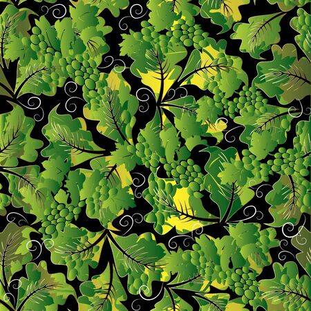 Floral 3d grapes seamless pattern. Vector abstract background wallpaper with green 3d grapes, leaves, vineyards, swirl lines, vintage ornaments. Surface grape vines  design for fabric, prints, textile