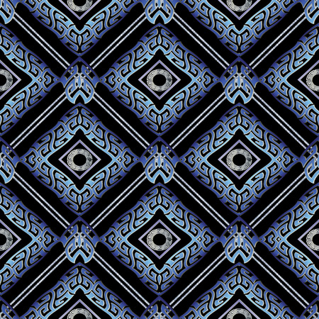 Greek meanders seamless pattern. Vector geometric tiled background. Modern 3d wallpaper. Abstract shapes, zigzag, waves, stripes, lines, rhombus, circles, greek key ornaments. Surface meander pattern