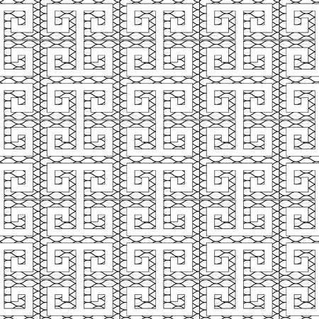 Meander greek key seamless pattern. Isolated black and white patterned  background. Geometric abstract decorative ornaments. Luxury design for wallpapers, fabric, textile, prints.